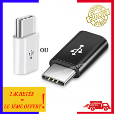 1 Adaptateur Micro USB Femelle Vers / à USB 3.1 Type C Mâle Noir / Blanc