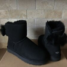UGG MINI FLUFF BOW BLACK SUEDE SHEEPSKIN BOOTS BOOTIES SIZE US 8 WOMENS