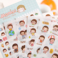 6Sheets Cartoon Girl Diary Planner Paper Stickers Scrapbook Calendar Decorations
