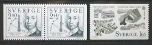 SWEDEN 1983 Europa  Anders Celsius. Set of 3. Mint Never Hinged. SG1110/1111.