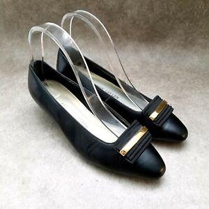 Andrew Geller Womens Image  Sz 7 M Black  Leather Slip On Low Heels Pumps