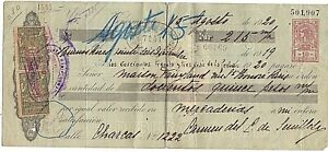 """Argentina postal revenue  """" Ley de sellos"""" 1919 of 0.10 used with France PR  RR!"""