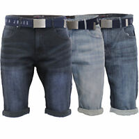 Mens Denim Shorts Smith & Jones BELT Knee Length Roll Up Faded Casual Summer New