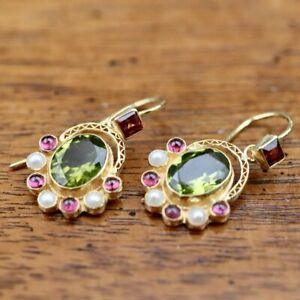 Sotherby 14k Gold, Peridot, Garnet and Pearl Earrings: Museum of Jewelry