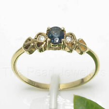 14k Solid Yellow Gold Genuine Diamonds & Oval Natural Blue Sapphire Ring TPJ
