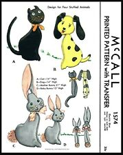 McCall 1574 Fabric Sewing Pattern Stuffed Animal Toy Cat Dog Mother & Baby Bunny