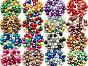 Mix of Glass Faux Pearls - Colour themed packs, choose 3, 4, 6, 8, 10 or 12mm