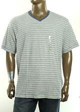 New Mens Club Room V Neck Blue White Stripe Short Sleeve T Shirt Tee XXL