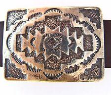 Sterling silver concho bracelet, leather strap, Elmer Kee, Navajo Rug Pattern