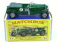 Matchbox Yesteryear Y5-2 1929 4½ Litre Blower Bentley 'D3' Box (EARLY VERSION)
