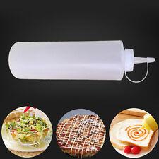 1PC 24oz White Plastic Squeeze Bottle Condiment Ketchup Dispenser Kitchen Supply