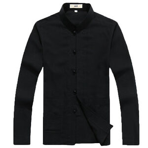 Men's Chinese Traditional Kung Fu Long Sleeve Cotton Linen Tang Shirt and Pants
