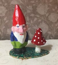 Hand Carved Wood Gnome Elf & Mushroom Figurine 3 1/4� Tall, Artist Signed