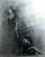 FLIGHT OF REASON Female Nudes Figurative Charcoal Drawing Contemporary Realism