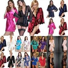 Silk Satin Kimono Robe Dressing Gown Ladies Sexy Nightwear Sleepwear Bathrobe