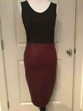 Piphany/Honey & Lace WINE SOLID Pleather NWT M Fullerton Pencil Skirt