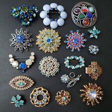 18pc HIGH QUALITY Vintage Blue Rhinestone Brooch Pin Lot Flower Crystal MM14