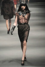 Lanvin (Fr42) Hiver 2010 Black Layered Stretch LACE on Taupe Clingy pencil Skirt