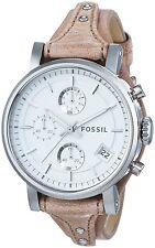 Fossil Damen-Armbanduhr Chronograph Quarz Analog Leder Edelstahl ES3625