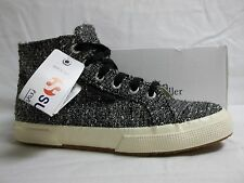 Superga Size EU 37.5 US 7 M Sliver Black High Top Sneakers New Womens Shoes