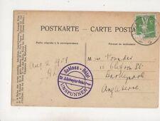 Schloss Hotel Unspunnen Switzerland Cachet 1909 608b