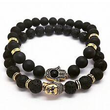 Handmade Lava Stone Matte Onyx Buddha & Hamsa Men's Yoga Beaded Energy Bracelet
