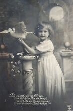 1917 B/W Postcard. Little Girl & Dove. Auf Deutsch. Written to Soldier. Einzig