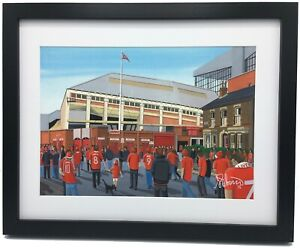 Liverpool FC Spion Kop Anfield Stadium High Quality Framed Art Print. Approx A4.