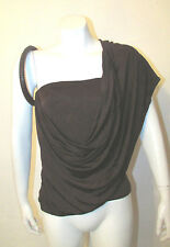 EXTREMELY RARE GIANFRANCO FERRE brown tube top blouse leather ring 40 IT 4-6 US