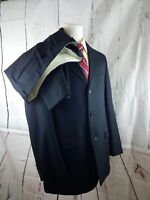 Kasper Black Pinstripe 100% Wool 3 Button 2pc Men's Suit 44L 36x29
