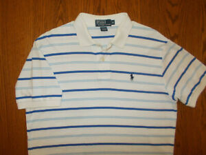 RALPH LAUREN SHORT SLEEVE WHITE & BLUE STRIPED POLO SHIRT MENS MEDIUM EXCELLENT.