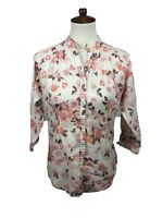Woolrich Women's Size S Floral Button Down Tunic Top 3/4 Button Sleeves Blouse