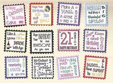 12 cotizaciones de sentimiento Feliz Cumpleaños Tarjeta de saludo Artesanía Álbum de recortes Etiquetas de mensaje