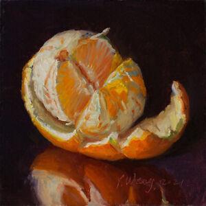 original daily painting contemporary realism still life peeled orange 6x6 Y Wang