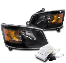 2008-2010 DODGE GRAND CARAVAN CRYSTAL HEADLIGHT LAMP BLACK W/8000K XENON HID NEW