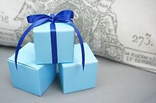 Set of 10 Baby Light Blue Square Favor Box Boxes, Jewelry Gift Box, Turquoise