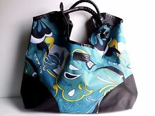 a86d3e0ff Faux Leather/Canvas Green Floral Essence Shopper Tote 21.5