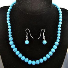 10MM Hand Made Tourques Fashion Ladies Jewelry Set- Necklace & Earring Set 18""