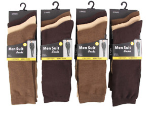 Mens 12 pairs office suit socks brownish Multi Coloured Work Office Cotton 6-11