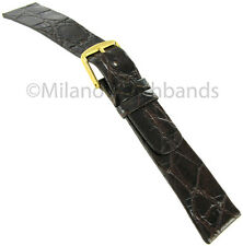 19mm Milano Genuine Crocodile Brown Unstitched Flat Square Tip Mens Watch Band