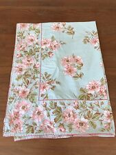 "April Cornell TABLECLOTH Rectangle Cotton Blue Pink Rose Floral Spring 84""x57"""