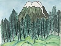 """11x14 Original hand-painted Landscape Watercolor painting """"Mountain & Trees"""""""