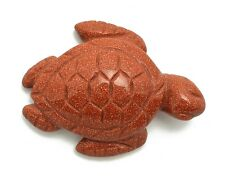 Sea Turtle Goldstone Hand Carved Gemstone Animal Totem Statue Stone Sculpture