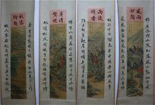 "RARE Chinese 100% Hand Painting 4 Scrolls ""Landscape"" By Zhang Daqian 张大千 ZZAL7"