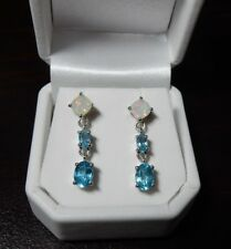 Genuine Ethiopian Opal and Blue Apatite Sterling Silver drop Earrings