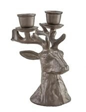 Victorian Trading Co Cast Iron Stately Stag Deer Double Candleholder