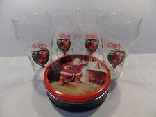 "4 1996 Coca Cola Santa / Train Christmas Glass 6 1/2"" Tall set 1985 Coke Tin"