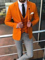 Orange 2 pieces Check Pants tuxedos Men's Suit British style custom slim fit New