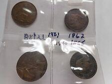Large Vintage British Pennies - Lot of Four 1850-1940