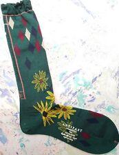 Antipast Japan Womens Wool Socks Botanical Leaf Green Over Calf UK 4-7 EU 37-40
